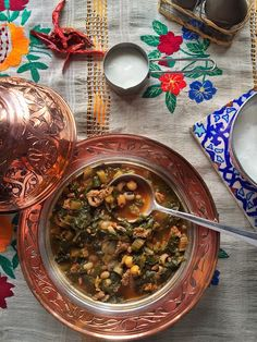 Minced Meat Stew Borani / With Chard , blackeyed peas. chickpeas