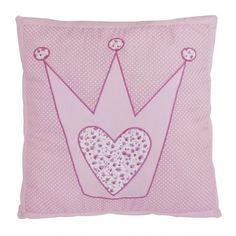 Allegro cuscino con delle applicazioni ricamate di una corona.
