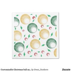 Customizable Christmas ball and holly paper napkin
