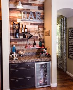 57 Fabulous Home Bar Designs You'll Go Crazy For. Decorating your ideal home bar design. Consider yourself lucky if you've got your own home bar – it's a perfect social gathering spot that's. Home Bar Rooms, Home Bar Decor, Home Decor Kitchen, Kitchen Ideas, Kitchen Rustic, Diy Kitchen, Bar Interior, Interior Decorating, Decorating Ideas