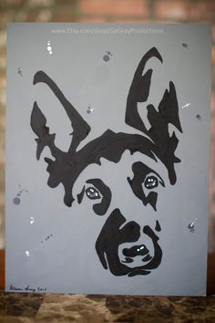 German Shepherd Pet Painting - Grey Tone Shepherd Dog Wall Art Pet Painting - Original Artwork on Art Board by GoGrayProductions on Etsy