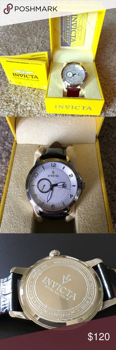 Invicta Watch (Men's) Brand new men's watch with white fave and black strap. In perfect condition. Accessories Watches