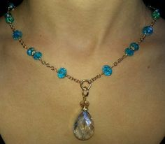 Faceted Crystal Necklace with Clear Crystal by JewelsforGeorgiGirl, $49.00