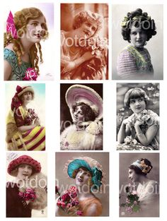 Vintage Ladies Women Flappers Fashion Hats by wotdoin Flappers 1920s, 1920s Flapper, Fashion Illustration Collage, Fashion Collage, Vintage Love, Vintage Ladies, Great Gatsby Outfits, Diva Fashion, Fashion Hats