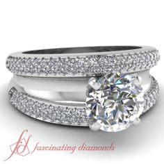 Round Cut Diamonds !4k White Gold Side Stone Engagement ring in Pave Setting || Parallel Split Ring