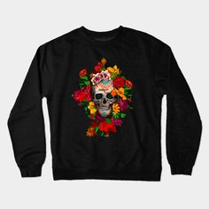 Sugar skull with flowers Crewneck #teepublic #Crewneck #daisy #roses #floral #flower #indianchief #chief #owls #sugarskull #skull #pattern #owl #nativeamerican #native #indian #diadelosmuertos #muertes #mexicanart #dayofdead #mexicoskull #mexicosugarskull #halloween #thedayofthedead
