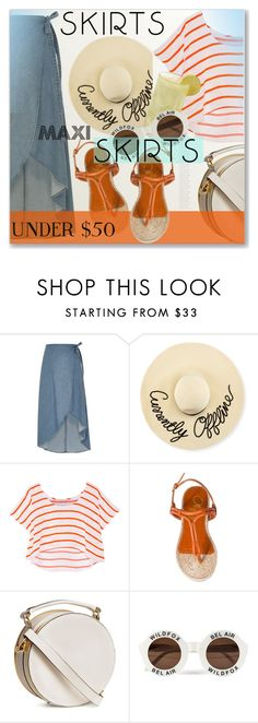 """""""Under $50 Skirts"""" by myfashionwardrobestyle ❤ liked on Polyvore featuring River Island, Eugenia Kim, Rebecca Minkoff, Charlotte Olympia, H&M and Wildfox"""