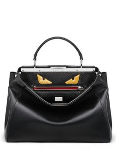Black Bags Bug Peekaboo calfskin handbag with crocodile intarsia eyes Fendi www.pinterest.com/BonnieWPhotos/