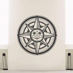 Crescent Wind Rose Sun Vinyl Wall Art Decal Sticker