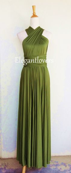 Convertible Dress Olive Wedding Bridesmaids Infinity Wrap  Evening Cocktail Party Custom Made Women Prom Handmade Ladies Green Long Dresses