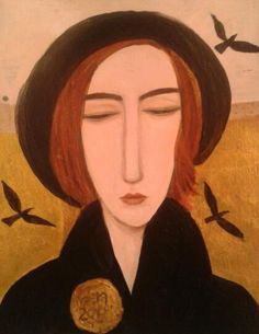 completed: woman with crows by deenickersonart2012, via Flickr