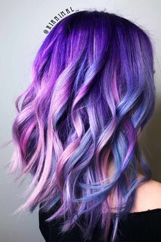 Blue And Purple Mermaid. Purple hair color variations surprise us with their numerousness and versatility. And taking into account the increasing popularity of purple hairstyles, we think that it is time to discuss this topic in detail. So, today we are going to share with you some cool looks with purple hair! #purplehair #puplehairstyle #purpleombre