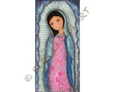 Holy Mary of Guadalupe -   Print from Painting by FLOR LARIOS (5 x 10 inches)