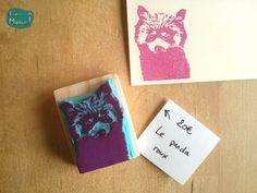 gravure sur gomme panda-roux- - Espèce de Manue !