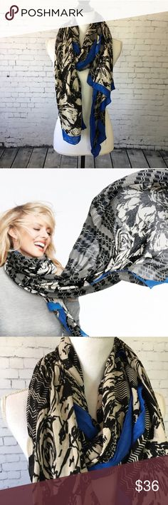 🎉HOST PICK 🎉 Stella & Dot Union Square Scarf Beautiful scarf from Stella & Dot. Black, white and cobalt blue print wakes up your coat and complexion. Super soft 100% rayon fabric wraps you in warmth while still being light and not bulky. You can wear this so many different ways. Perfect accessory to top off your fall and winter outfits. Used as trunk show sample. In excellent condition. Fashion Icon Host Pick!! 🎉 Stella & Dot Accessories Scarves & Wraps