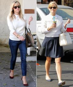 #ReeseWitherspoon The Button-Down and Crewneck Sweater Pairing