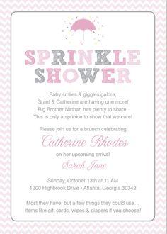 Pink Baby Sprinkle Shower Invitation / Pink Grey Girl Chevron / Umbrella / Printable / Sprinkle Shower