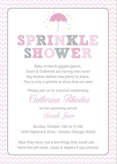 Cute Sprinkle Shower Invite  Pink Baby Sprinkle Shower Invitation / Pink Grey Girl Chevron / Umbrella / Printable / Sprinkle Shower
