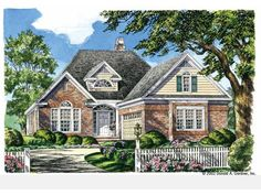 Eplans House Plan: This narrow-lot traditional home has a lot to offer for its modest square  footage. A  clerestory highlights the dormer and mimics the arches in the Palladian window  and fanlight above the front door. A