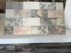 Colorful Patina-Antique Mirror mix of various patinas that create this designer set of Mirror Tiles. We combined our favorite colorful patterns- Hydrangea, Rainbow Cloud, Silver Patina and Sunset, alo Antique Mirror Tiles, Antiqued Mirror, Decorative Mirrors, Countertop Materials, Strip, Diy Mirror, Mirror Ideas, Interior Design Kitchen, Houses