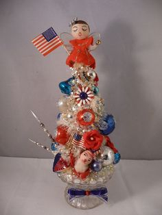 Decorated Americana Bottle Brush Tree * w Red, White and Blue Ornaments * Patriotic Inspired * Mercury Glass Putz Tree * 4th of July Display * Bottle Brush Trees * DIY Vintage Putz Glitter House * Village Inspiration!