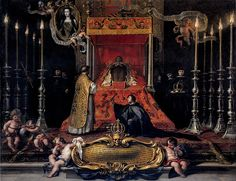 Maria Luisa, Queen of Spain lying in state, by Sebastián Muñoz, 1689, displays the full panoply of lying in state