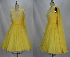 To keep or not to keep, that is the question. This is such a treat of a dress. Perfect Summer party dress. Yellow silk chiffon with a white lace bodice and a yellow silk chiffon shoulder drape. White lace is decorated with prong set rhinestones and pearls. Yellow chiffon bow at top. Huge full skirt (crinoline not included). Zips up back with metal zipper and secures with hook & eyes. Perfect dress for lucite and rhinestone springolaters. Dont forget your Wilardy clutch!  Label: none…