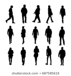 Set of silhouette of people walking and standing. Person Silhouette, Silhouette Png, Architecture People, Museum Architecture, Architecture Graphics, People Png, Cut Out People, Painting People, Silhouette