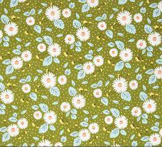 SALE Little Miss Sunshine Leaf Fresh Daisies by WindyRobinCotton
