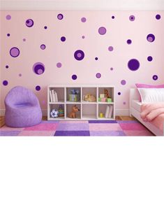 Add your own personality to your space with our dark and light purple polka dot wall decals. Enhance your wall decor with wall graphics from Whimsi Decals!