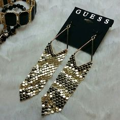 NEW GUESS EARRINGS Awesome long dangling fish scale earrings by Guess. NWT. Color gold. Guess Jewelry Earrings