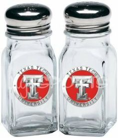 Texas Tech Red Raiders Salt and Pepper Shaker Set by Heritage Pewter. $24.99. This high quality Texas Tech Red Raiders Salt and Pepper Shaker Set is officially licensed and features a colored pewter logo of your favorite team. This unique product makes a great gift! Made in the USA.