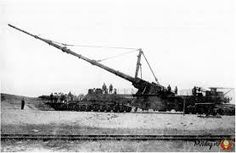 The Paris Gun used by the Imperial German Army It had a range of approximately 75 miles and its ammunition was the first man made object to reach the stratosphere of the Earth. It also had to consider the Earth's rotation for accurate fire. Memento Mori, Railway Gun, Canon, Big Bertha, Naval, French Army, Big Guns, Vietnam Veterans, German Army