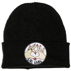 Girl Gang Black Beanie Hat Embroidered Patch 2 Sizes 90s Stoner Skater... ($11) ❤ liked on Polyvore featuring accessories, hats, slouchy beanie, patch hat, slouchy beanie cap, slouch beanie hats and hipster beanie