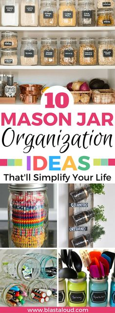 Awesome mason jar organization tips and ideas for around the house! If you love mason jars you will love these! #masonjar #masonjars #organization #masonjarorganization