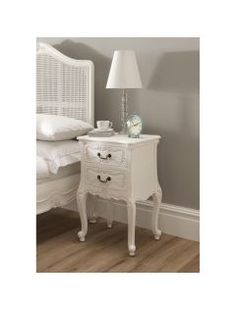 Handcarved Antique White La Rochelle Antique French Bedside, a beautiful addition to any bedroom, this bedside table is finished in white. Antique White Bedroom Furniture, Shabby Chic Bedroom Furniture, French Furniture, Bedroom Decor, Bedroom Inspo, Camilla Frances, Luxury Bedroom Sets, Dream Bedroom, French Bedside Tables