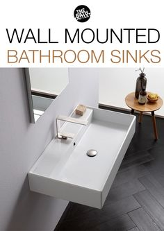 Wall mounted bathroom sinks offer many advantages when it comes to bathroom design and style. Wall mounted sinks offer clean, straight lines that look great in almost any bathroom theme but really shine in a modern settings. Modern Bathroom Sink, Bathroom Ideas, Wall Mounted Bathroom Sinks, Straight Lines, Modern Wall, Indoor, Homes, Design, Home Decor