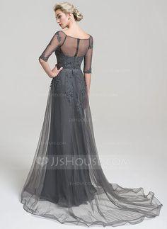 A-Line/Princess Off-the-Shoulder Court Train Tulle Evening Dress (017102495)