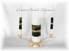 Camo Wedding Unity Candle Set by CreativeBridal on Etsy, $55.00