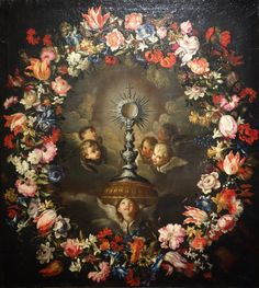 File:Flower Garland with Monstrance, probably by Stefano Camogli, c. oil on canvas - Museo Diocesano (Genoa) - Adoration Catholic, Catholic Art, Catholic Pictures, Bible Pictures, Religious Paintings, Religious Art, Christian Paintings, Jesus Christ Images, Religion Catolica