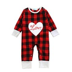Moonlight Infant Girl Romper Fall Cute Letter Love Newborn Baby Rompers New 2017 Fashion Plaid Heart Long Sleeve Girls Clothes #Affiliate