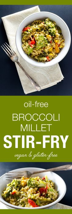 Oil-Free Broccoli Millet Stir-Fry - this vegan and gluten-free recipe offers a tasty alternative to traditional rice stir-fries - a satisfying meal or side dish Delicious Vegan Recipes, Healthy Dinner Recipes, Whole Food Recipes, Vegetarian Recipes, Cooking Recipes, Vegan Desserts, Healthy Food, Healthy Eating, Tofu