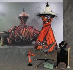 A fashionista miniature Monarch butterfly ..outfit from http://minimumloon.blogspot.com/