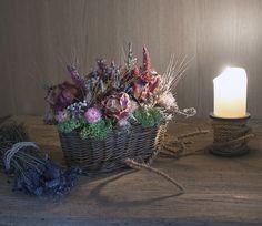 Roses, lavender, dry flowers in basket Dry Flowers, Flower Basket, Lavender, Roses, Decor, Dried Flowers, Flower Preservation, Decoration, Pink
