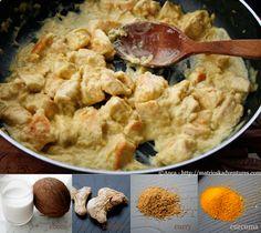 pollo al cocco e curry ricetta indiana/pui indian cu lapte de cocos si curry  http://matrioskadventures.com/2013/04/12/pollo-indiano-al-cocco-e-curry-pui-indian-cu-cocos-si-mirodenii/
