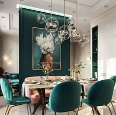 Post with 0 votes and 211016 views. Moscow, Russia - Beautiful emerald green tones to accent this dining room space [1080x1077] #modernkitchendesign #graphicdesign