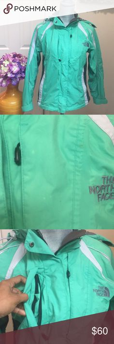 Mint Green Northface Summit Series Jacket sz s Gently used Summit Series Jacket with Gore-Tex to keep you dry. A few spots of discoloration as shown in picture two, but otherwise still in good condition. Lots of pockets!! North Face Jackets & Coats Utility Jackets