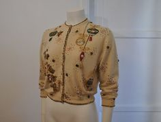 50s sweater / Christmas Sweater - Beaded  Ornaments - off Etsy