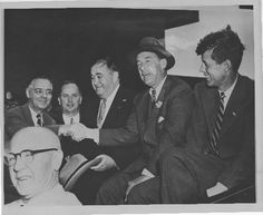 PRINGFIELD -- Congressman John F. Kennedy, candidate for U.S. Senate, right, appears in Springfield in 1952 with two other top Democratic candidates, Adlai Stevenson, center, candidate for president, and Paul Dever, running for governor. (File photo) (File photo)