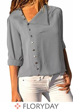 Summer Chiffon Blouse 2019 Long Sleeve Women Blouses Tops Solid Office Shirts Casual Tops Blusas Button Tops Gray S Shirts & Tops, Shirt Blouses, Blouses 2017, Work Shirts, Tee Shirts, Fashion Moda, Blouses For Women, Ladies Blouses, Cheap Blouses